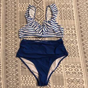 NWT Cupshe Blue Striped High Waist Bikini Size L